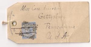 INDIA 2a Ultra #40 on Mailing tag addressed to USA Fabulous!