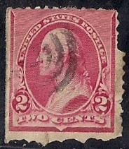 220 2 cent 1890 Washington, Carmine Stamp used F
