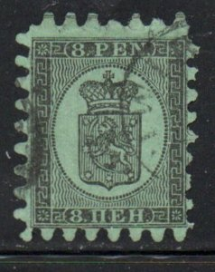 Finland Sc7 1867 8p black on green Coat of Arms stamp rouletted used