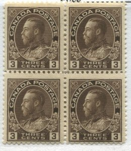 Canada KGV 1918 3 cents brown Admiral unmounted mint NH block of 4