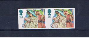 GREAT BRITAIN 1994 XMAS 19p IMPERFORATE PAIR