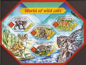 Solomon Islands MNH S/S Wild Cats 2014 4 Stamps