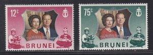 Brunei # 186-187, Queen Elizabeth's Silver Wedding, NH, 1/2 Cat.