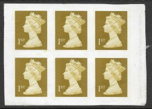 2002 Sg 2295a 1st Gold - Self Adhesive Decimal imperf pane of 6 UNMOUNTED MINT