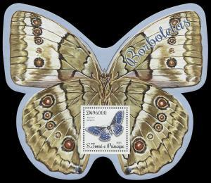 São Tomé and Príncipe. 2014. Butterflies (MNH OG) Souvenir Sheet