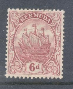Bermuda Sc 47 1912 6d claret ship stamp mint
