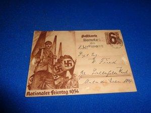 WWII ERA GERMANY PROPAGANDA POSTAL CARD, 1934 NATIONALEE FEIERTAG