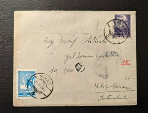 1946 Sivas Turkey Cover to Halic Ferrer Istanbul Turkey with Contents