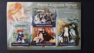 Art - Burundi 2012. - Pierre-Auguste Renoir ** MNH Sheet