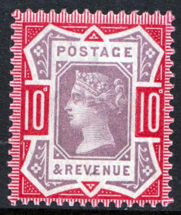 GB QV 1887 10d Dull Purple Carmine SG210 Mint Never Hinged MNH