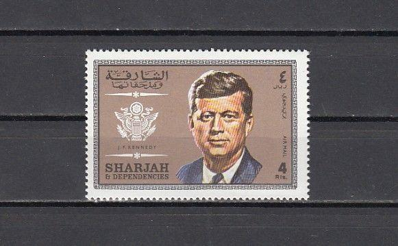 Sharjah, Michel cat. 536 A. President John Kennedy value from set.