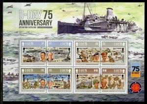 ISLE OF MAN  2019 75th ANNIVERSARY OF D-DAY WW II SHEET MINT NH