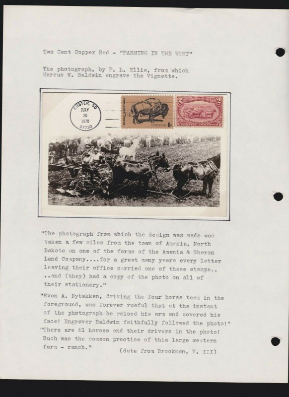 US Stamp Images Cattle in the Storm Drawing & Farming in the West RPC Postcard