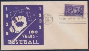#855-63 100 YEARS OF BASEBALL ON SCARCE FDC 1ST MARSELLA CACHET 9/12/39 BT924