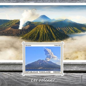 TOGO - 2021 - Volcanoes - Perf Souv Sheet - Mint Never Hinged