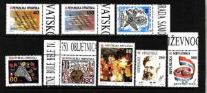 Croatia-Sc#138-45-unused NH group of 8-1992-