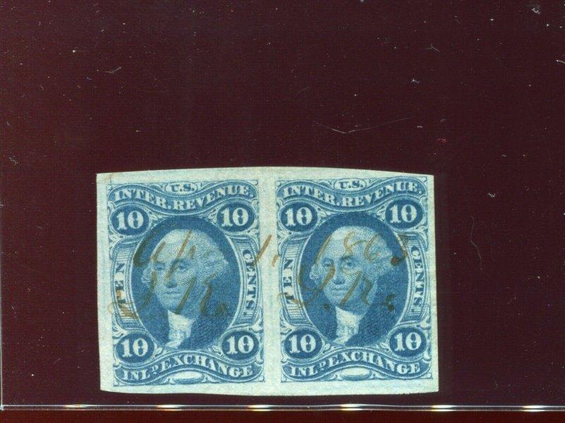 Scott R36a Inland Exchange Imperf Revenue Pair of 2 Stamps w/PF Cert (R36-PF1)