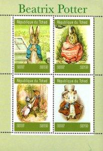Chad 2019 Beatrix Potter Peter Rabbit Foxes Animals 4v Mint S/S. (#11)