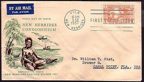 NEW HEBRIDES 1957 1f on commem FDC.........................................13510