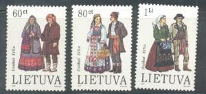 Lithuania Sc 465-7 1993 Dzukai Folk Costumes stamp set mint NH