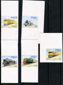 Senegal 1977 Trains (5) Deluxe Imperforated mnh.vf