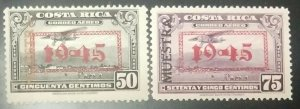 A) 1945, COSTA RICA, SPECIMEN IN BLACK, WITH OVERPRINT DATED 1945, BLACK GRAY AN