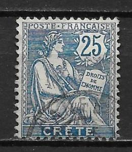 French Offices in Crete 9 25c single Used