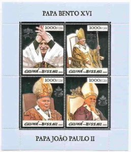 Guinea-Bissau Two Popes Silver Foil Stamps 5p04as