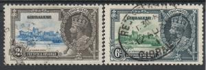 GIBRALTAR 1935 KGV SILVER JUBILEE 2D AND 6D USED