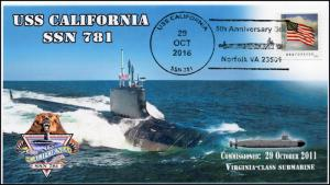 16-405, 2016, USS California, 5 year Anniversary, SSN-781, Pictorial Cancel