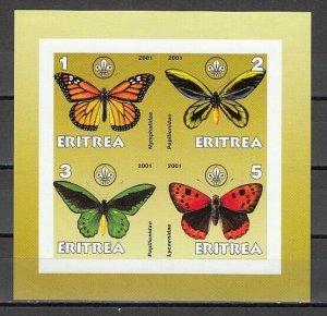 Eritrea, 2001 Cinderella issue. Butterflies on an IMPERF sheet of 4. *