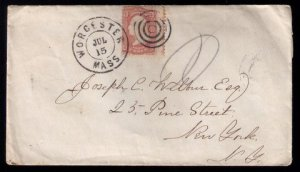 U.S.Scott #65 1861 Cover Worcester Mass. to New York, N.Y. Misperf R Fine