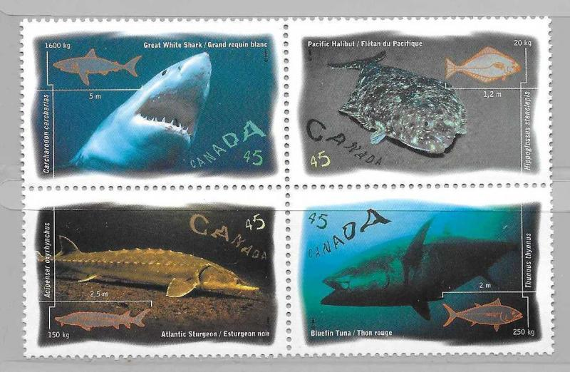Canada 1644a Salt Water Fish Block MNH