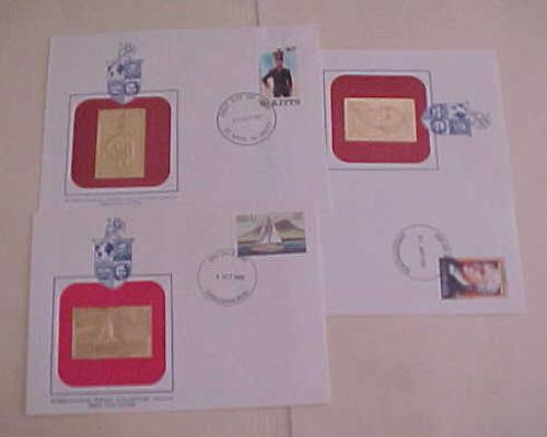 ST. KITTS  FDC GOLD FOIL 1987 & NEVIS 1980,1987 CACHET UNADDRESSED