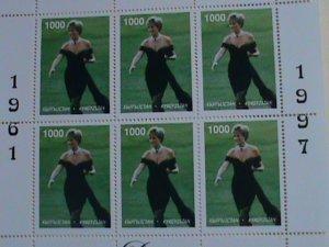 KYRGYZSTAN  STAMP: 1997- PRINCE DIANA- WITH BLACK DRESS-MINT NH MINI  SHEET