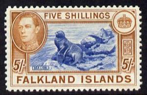 Falkland Islands 1938-50 KG6 Sealion 5s mounted mint, SG 161