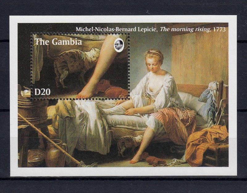 ART 1994 MNH Gambia Cats Painting Lecpicie Mini Sheet #A2442