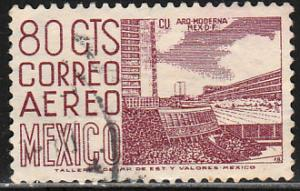 MEXICO C265b, 80cents 1950 Definitive 2nd Printing wmk 300. USED. F-VF. (1111)