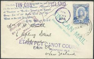 TONGA 1936 Tin Can Mail cover - SS Monowai...............................44701