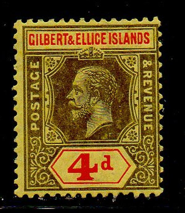 Gilbert & Ellice Sc 19 1912 4d black & red George V stamp mint