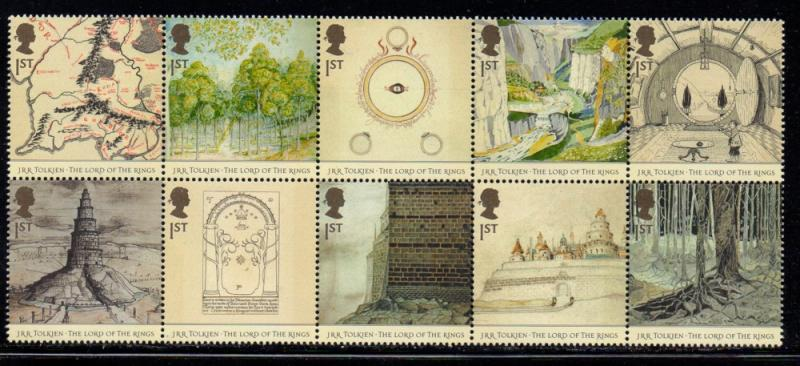 Great Britain Sc 2192a 2003 Lord of the Rings stamp block mint NH