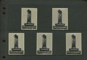 5 VINTAGE 1934 GERMANY 1100 STADT CASTROP RAUXEL POSTER STAMPS (L1169)