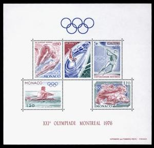 Monaco 1029a MNH Olympic Sports, Diving, Rowing, Boxing, Gymnastics