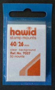 Hawid Stamp Mounts Size 40/26 CLEAR Background Pack of 50