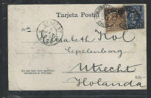CHILE  (P3108B) 1905  2 OVPT STAMPS   ON PPC  MAGALLANES TO HOLLAND