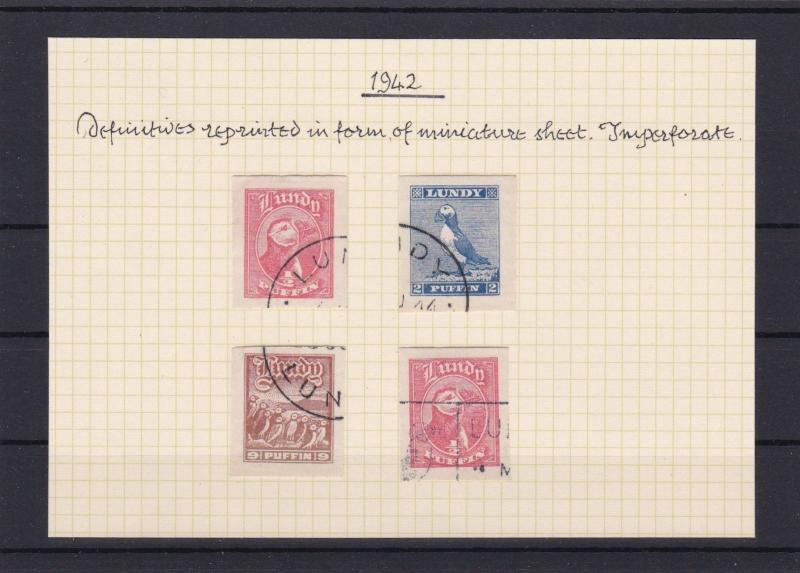 LUNDY ISLAND 1942 USED IMPERF  STAMPS. REF 5456