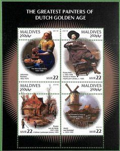 A2127 -MALDIVES, ERROR: MISPERF, MINIATURE S -2018 Dutch Painters, Art, Windmill