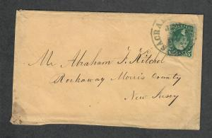 US Sc#33 Cover Sacremento CA To NJ June 4 CDS Type III XF Stamp!, Cv. $225