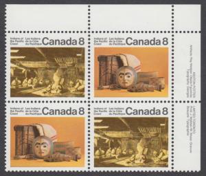 Canada - #571ai Pacific Coast Indians HF Back Plate Block  - MNH
