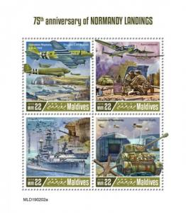 MALDIVES - 2019 - Normandy Landings - Perf 4v Sheet - MNH